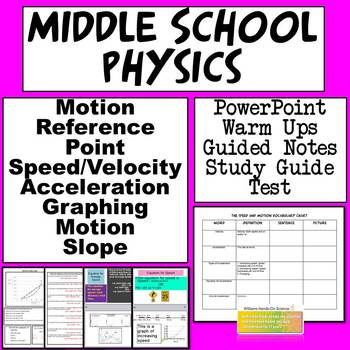Middle School Physics Motion PowerPoint, Guided Notes, Study Guide & Test