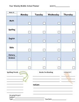 Middle School Planner