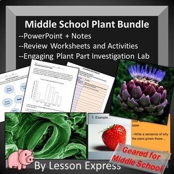 Middle School Plant Bundle -- Notes, Diagrams, Parts Lab Investigation