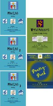 Middle School Poetry Bundle: 12 Mad Libs, 3 Puzzles, 10 Po
