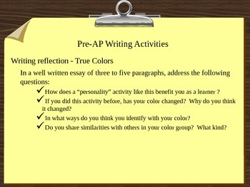Middle School Pre-AP Writing Prompts