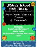 Middle School Pre-Algebra Review #5: Powers & Exponents