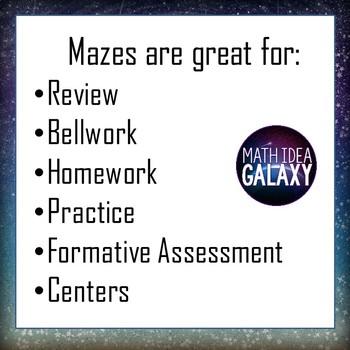 Middle School Math Activities Maze Pack