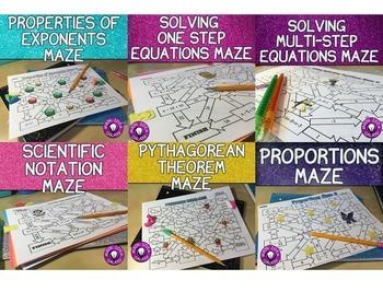 Middle School Math Activities Maze Bundle