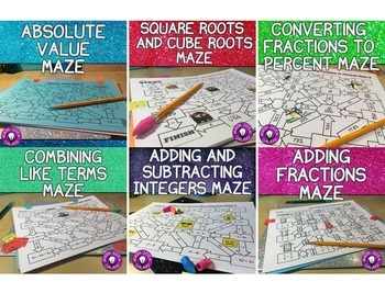 Middle School Math Activities Maze Bundle