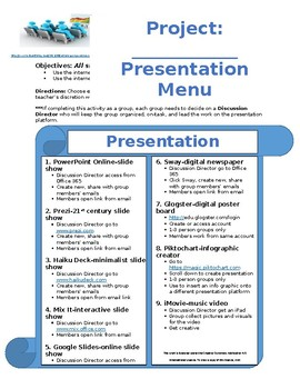 Expository Research Presentation Menu (could be used for a