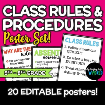 Beginning of the Year Classroom Rules & Procedure Poster Set for Middle School