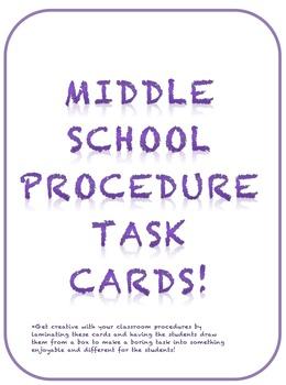 Middle School Procedure Task Cards