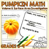 Volume and Surface Area Pumpkin Math Activity