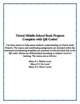 Middle School QR code Book Project Menu