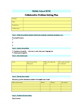 Middle School RTII Collaborative Planning Form
