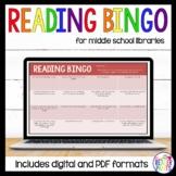 Middle School Reading Bingo; 2 sets of 6 cards; editable