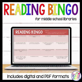 Middle School Reading Bingo; 2 sets of 6 cards; editable