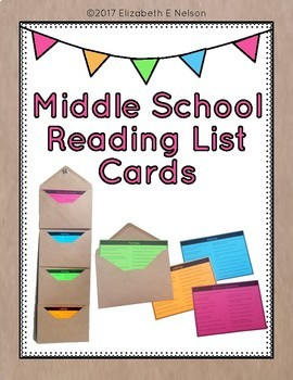 Middle School Reading List Cards