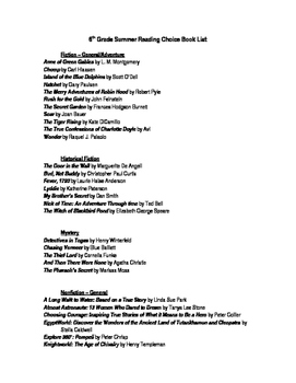 Middle School Reading Lists