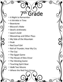 Middle School Reading Lists for Grades 6 - 8 and Gifted