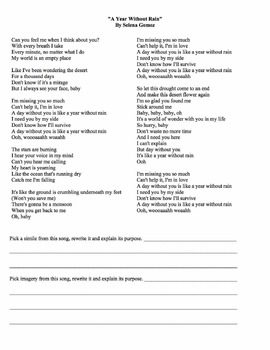 Middle School Reading: Literary Devices in Song Lyrics