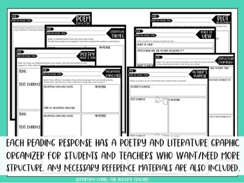 Middle School Reading Literature and Poetry Graphic Organizers Reading Responses