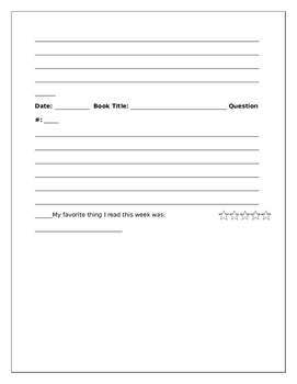 Middle School Reading Log & Reflection Questions