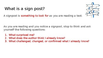 Middle School Reading Signposts Interactive Notes (PPT)*** (Printable)***