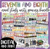 Middle School Reading Unit Novel Study Growing Bundle