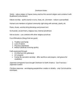 Middle School Religion - World Faiths - Shintoism Notes, Quiz