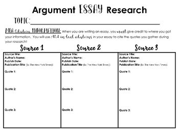 Middle School Research Organizer - MLA In-text Citations - Writing Organizer