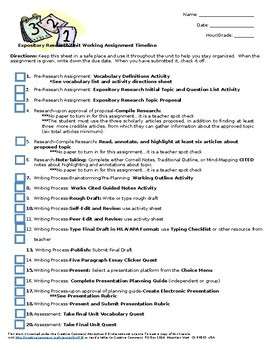 Expository Research Unit Timeline Checklist