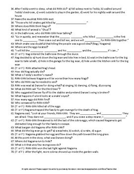 Middle School Rikki-tikki-tavi by R Kipling Guided Reading Worksheet and Puzzles