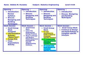 Lesson Plans for Middle School Robotics Engineering - Grades 6-7-8