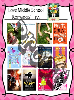 Middle School Romance Reads!!  Book Recommendations Poster