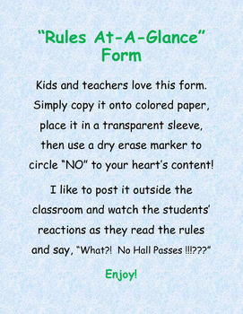 Middle School Rules-At-A-Glance Form