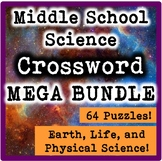Middle School Science Crossword MEGABUNDLE-Life, Earth, &