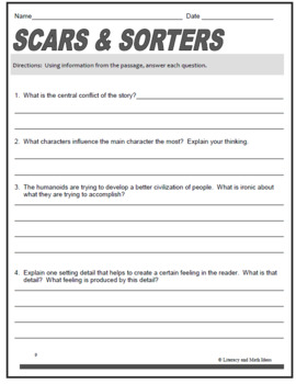 Middle School Science Fiction Close Reading Practice:  Scars and Sorters