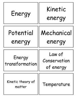 Middle School Science Fusion Matter and Energy, Module H Vocabulary Flashcards
