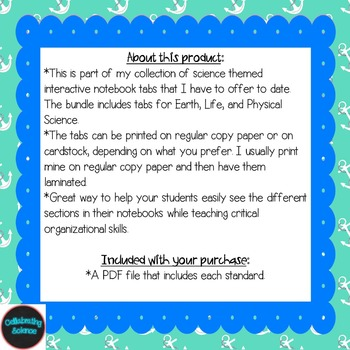 Middle School Science Interactive Notebook Tabs *Aligned w/ NGSS & NSTA*