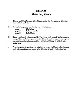Middle School Science MatchingMania
