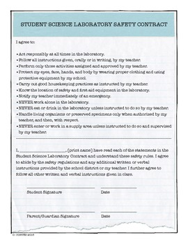Middle School Science Safety Contract