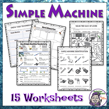 Middle School Science Simple Machines Worksheet Packet By Activities To Teach