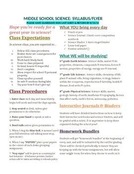 Middle School Science Syllabus/Flyer