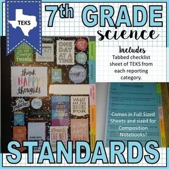 Middle School Science TEKS I Can Posters and Standards Checklist Bundle- (6,7,8)