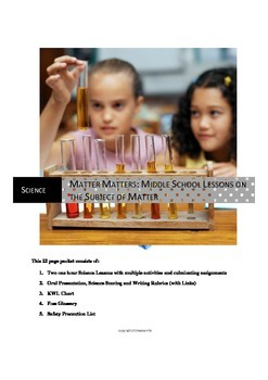 A Science Unit: Matter/Energy, Volume, and Properties of Matter (23 pp)