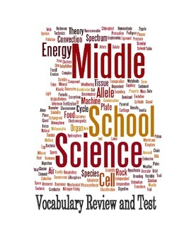 Middle School Science Vocabulary Review and Test