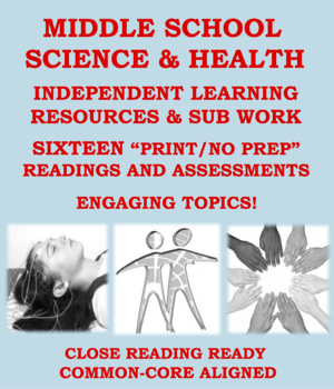 """Middle School Science/Health """"NO PREP"""": Sub Plans and Resources for One Week+"""