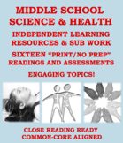 """Middle School Science and Health """"NO PREP"""": Independent Le"""