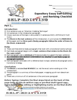 Middle School ELA Self-Editing and Revising Expository Ess