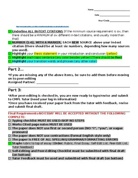 Expository Research Essay Self-Editing and Revising Checklist