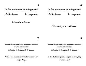 Middle School Sentence Task Cards