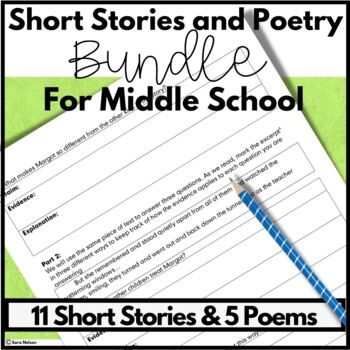 Middle School Short Stories and Poetry Comprehension and Analysis Lessons