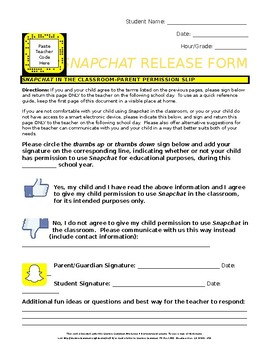Social Media: Snapchat in School-Directions, Student Reviews, & Release Form